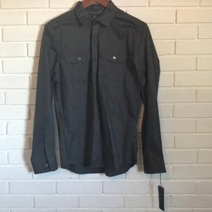 NWT Marc Anthony Charcoal Gray Button Up